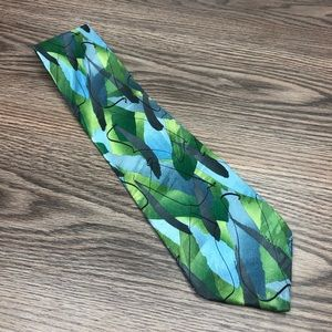 J. Garcia Blue & Green Pattern Silk Tie